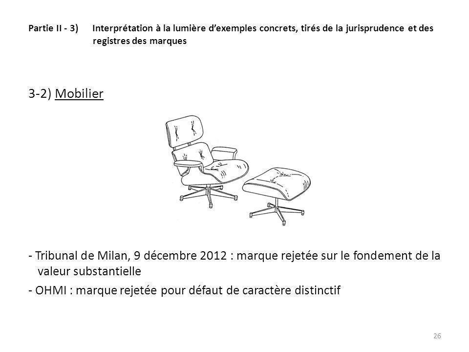 Partie II - 3) Interprétation à la lumière dexemples concrets, tirés de la jurisprudence et des registres des marques 3-2) Mobilier - Tribunal de Milan, 9 décembre 2012 : marque rejetée sur le fondement de la valeur substantielle - OHMI : marque rejetée pour défaut de caractère distinctif 26