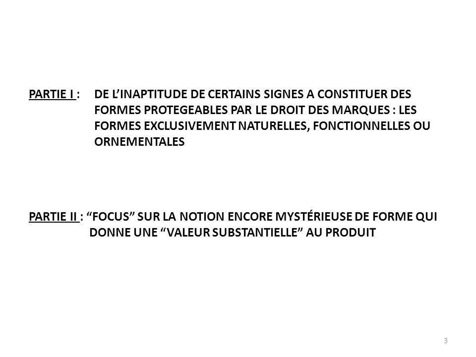 3 PARTIE I :DE LINAPTITUDE DE CERTAINS SIGNES A CONSTITUER DES FORMES PROTEGEABLES PAR LE DROIT DES MARQUES : LES FORMES EXCLUSIVEMENT NATURELLES, FONCTIONNELLES OU ORNEMENTALES PARTIE II : FOCUS SUR LA NOTION ENCORE MYSTÉRIEUSE DE FORME QUI DONNE UNE VALEUR SUBSTANTIELLE AU PRODUIT