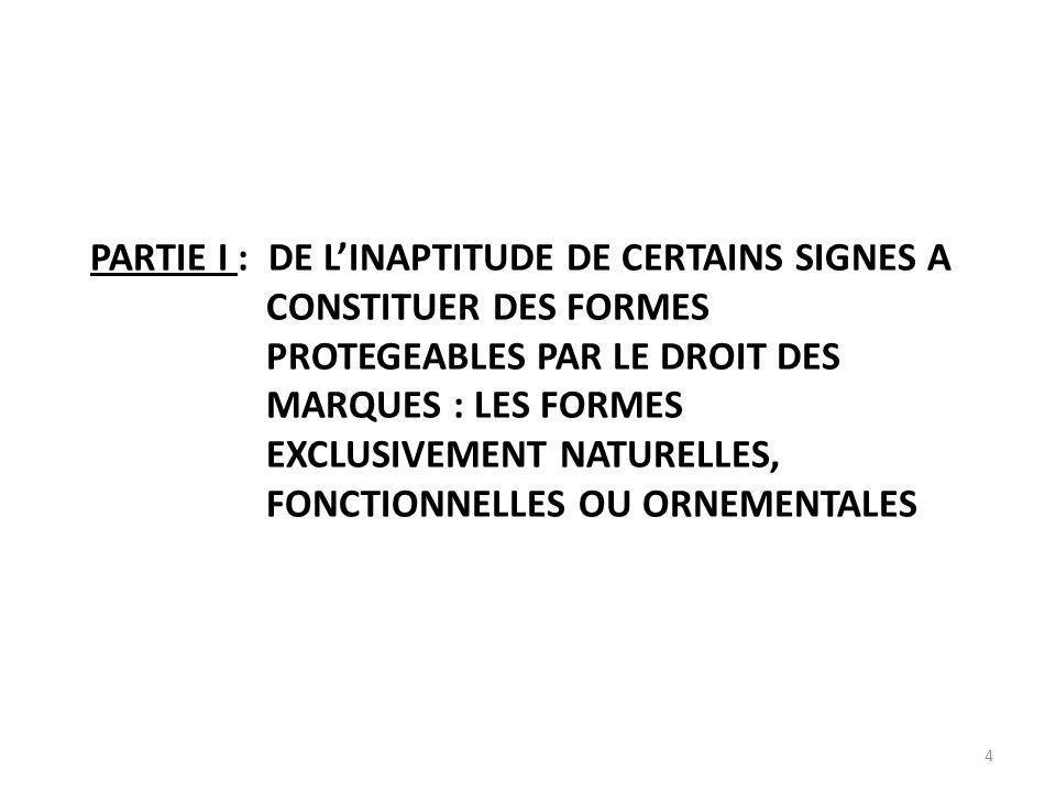 4 PARTIE I : DE LINAPTITUDE DE CERTAINS SIGNES A CONSTITUER DES FORMES PROTEGEABLES PAR LE DROIT DES MARQUES : LES FORMES EXCLUSIVEMENT NATURELLES, FONCTIONNELLES OU ORNEMENTALES