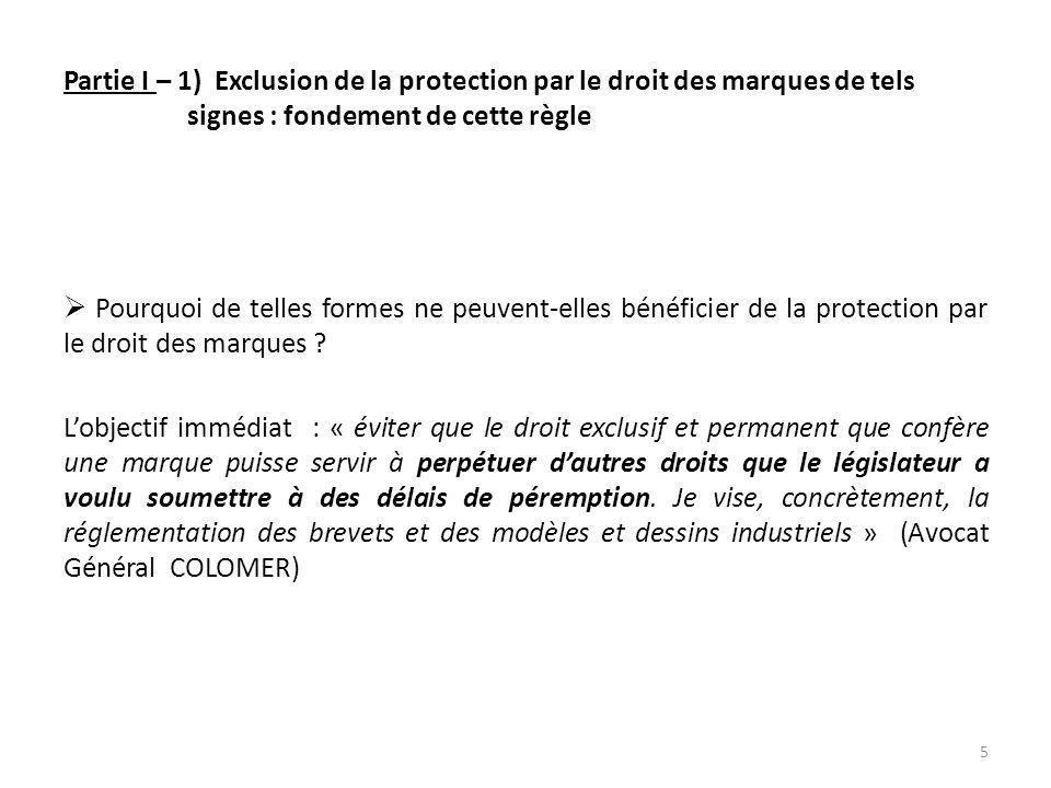 Partie I – 1) Exclusion de la protection par le droit des marques de tels signes : fondement de cette règle Pourquoi de telles formes ne peuvent-elles bénéficier de la protection par le droit des marques .