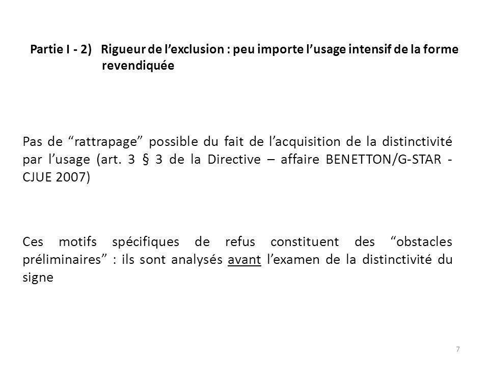 Partie I - 2) Rigueur de lexclusion : peu importe lusage intensif de la forme revendiquée Pas de rattrapage possible du fait de lacquisition de la distinctivité par lusage (art.