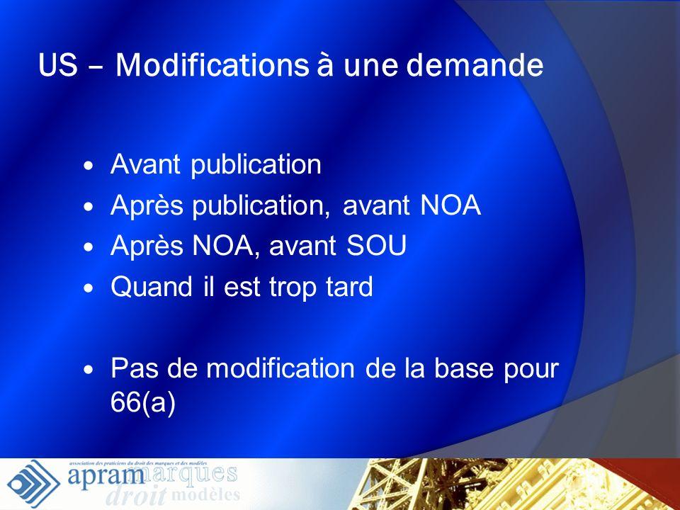 21 US – Modifications à une demande Avant publication Après publication, avant NOA Après NOA, avant SOU Quand il est trop tard Pas de modification de