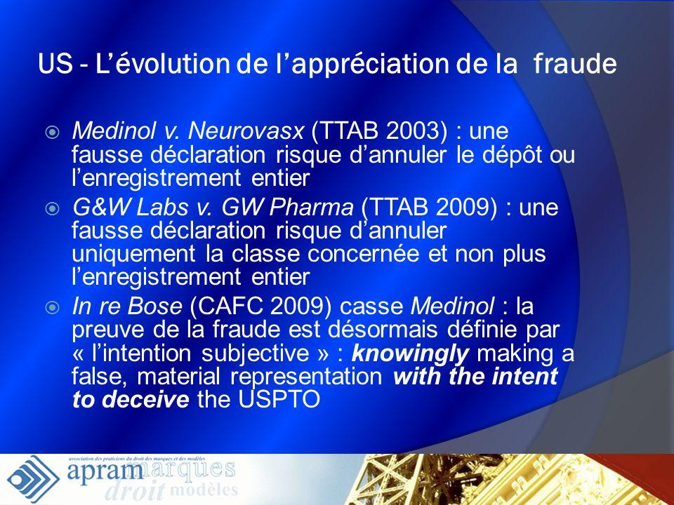 23 US - Lévolution de lappréciation de la fraude Medinol v. Neurovasx (TTAB 2003) : une fausse déclaration risque dannuler le dépôt ou lenregistrement