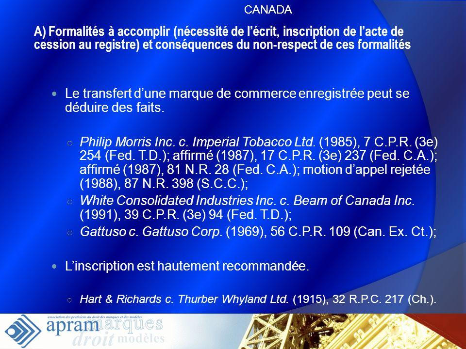 30 Le transfert dune marque de commerce enregistrée peut se déduire des faits. Philip Morris Inc. c. Imperial Tobacco Ltd. (1985), 7 C.P.R. (3e) 254 (