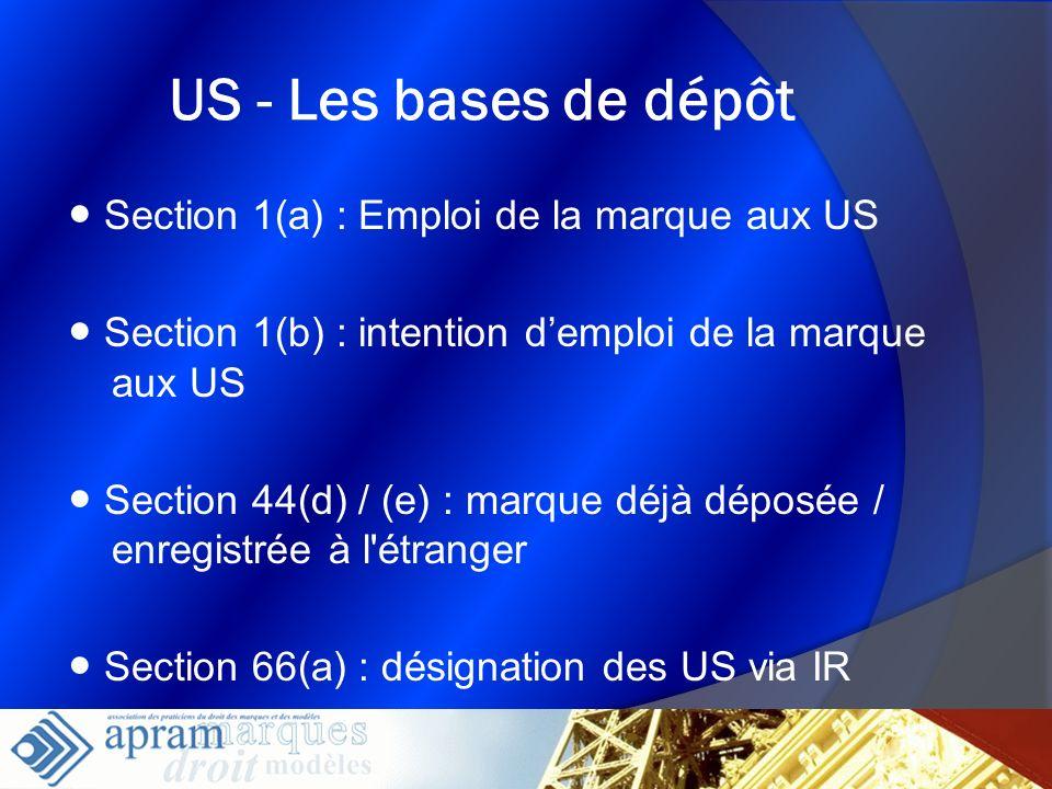 5 US - Les bases de dépôt Section 1(a) : Emploi de la marque aux US Section 1(b) : intention demploi de la marque aux US Section 44(d) / (e) : marque