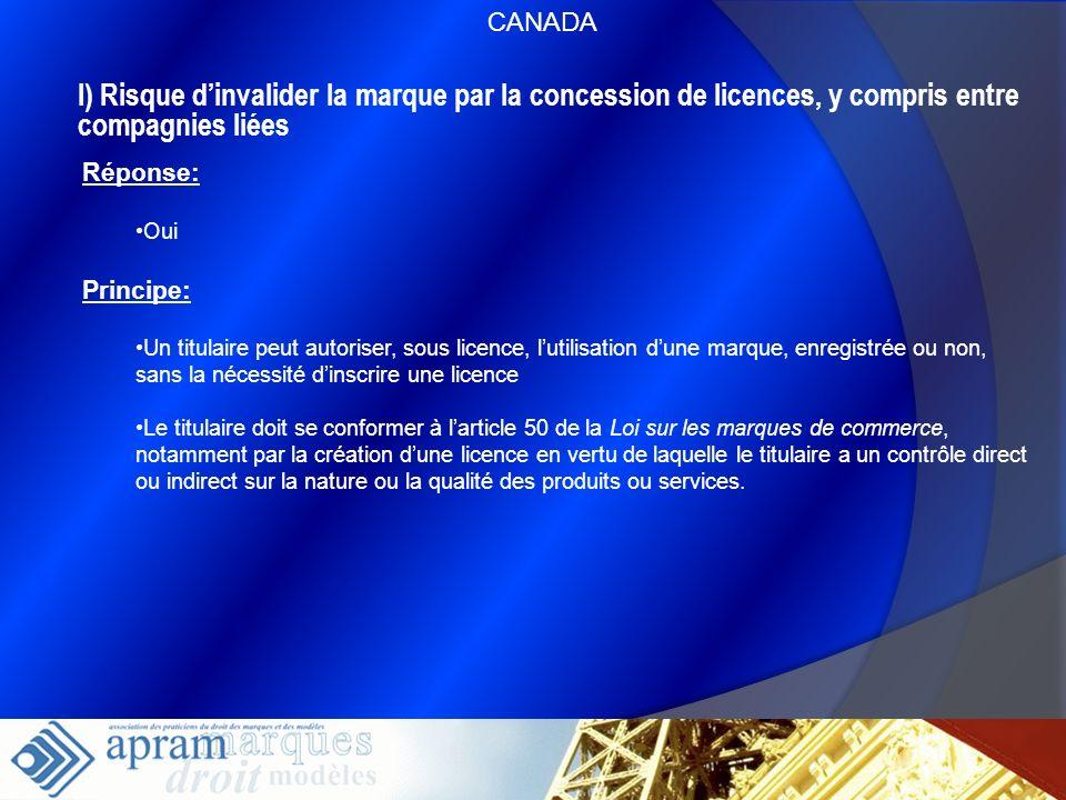 60 I) Risque dinvalider la marque par la concession de licences, y compris entre compagnies liées Réponse: Oui Principe: Un titulaire peut autoriser,