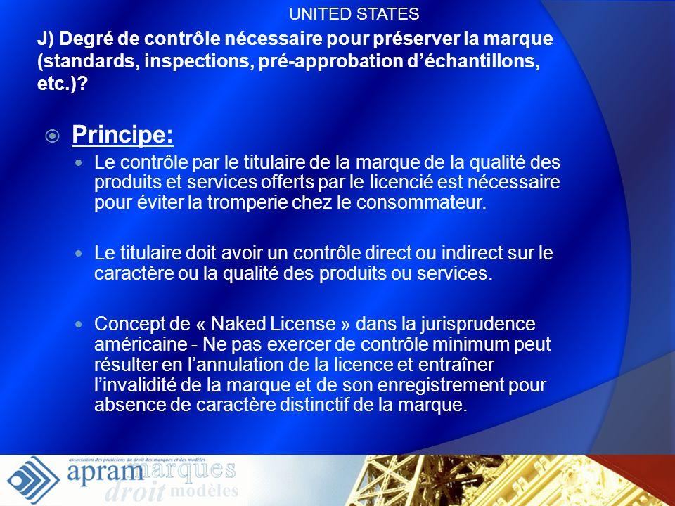 63 J) Degré de contrôle nécessaire pour préserver la marque (standards, inspections, pré-approbation déchantillons, etc.)? Principe: Le contrôle par l