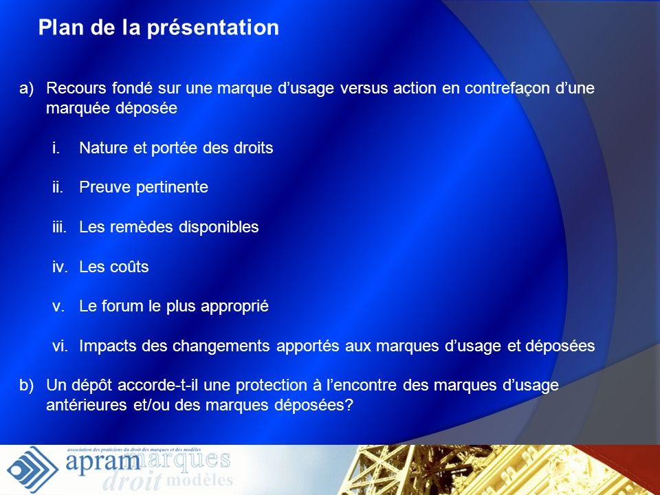 Plan de la présentation a)Recours fondé sur une marque dusage versus action en contrefaçon dune marquée déposée i.Nature et portée des droits ii.Preuv