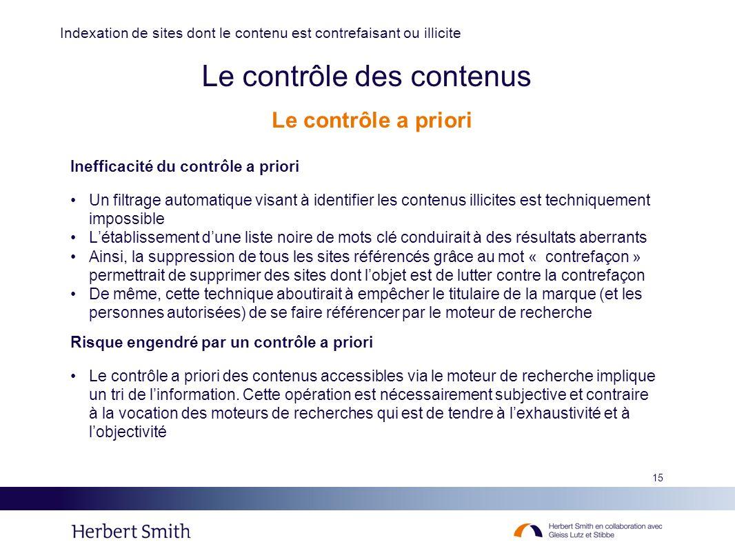 15 Le contrôle des contenus Inefficacité du contrôle a priori Un filtrage automatique visant à identifier les contenus illicites est techniquement imp