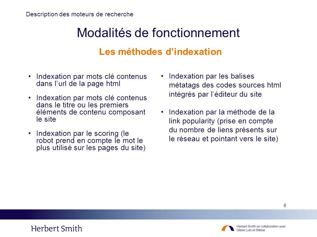 6 Modalités de fonctionnement Indexation par mots clé contenus dans lurl de la page html Indexation par mots clé contenus dans le titre ou les premier