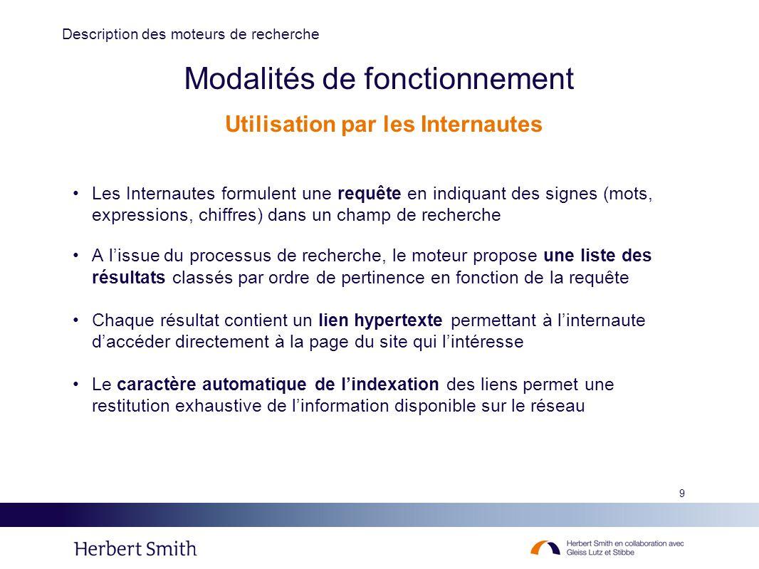 9 Modalités de fonctionnement Les Internautes formulent une requête en indiquant des signes (mots, expressions, chiffres) dans un champ de recherche A