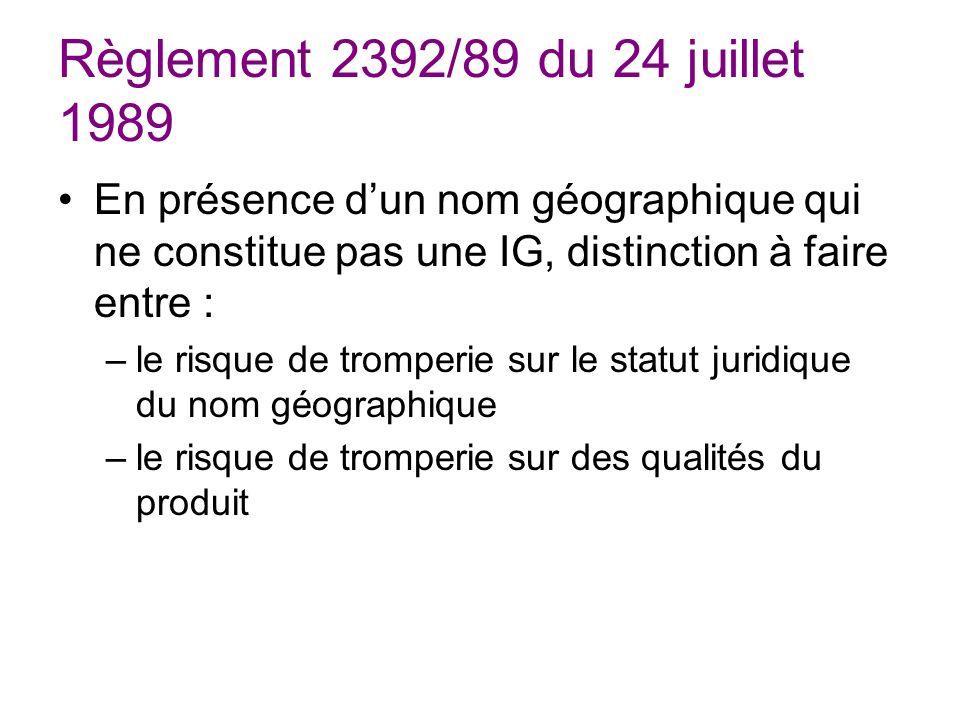 Règlement 2392/89 du 24 juillet 1989 En présence dun nom géographique qui ne constitue pas une IG, distinction à faire entre : –le risque de tromperie sur le statut juridique du nom géographique –le risque de tromperie sur des qualités du produit