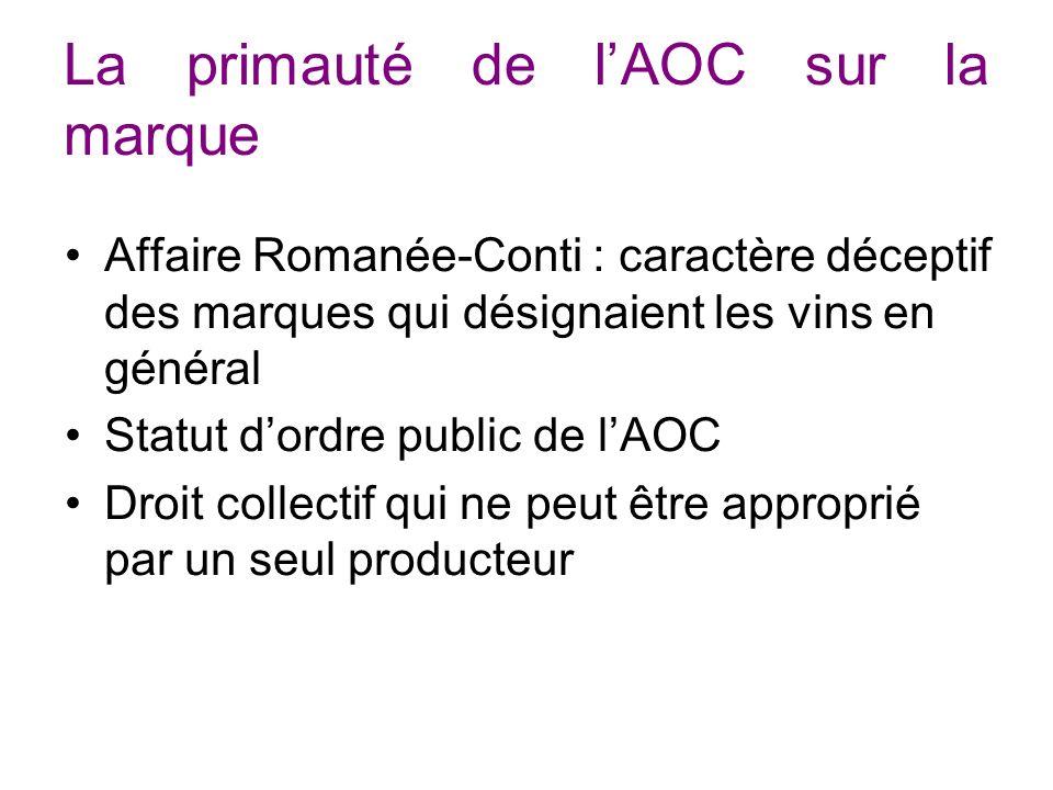 La primauté de lAOC sur la marque Affaire Romanée-Conti : caractère déceptif des marques qui désignaient les vins en général Statut dordre public de lAOC Droit collectif qui ne peut être approprié par un seul producteur