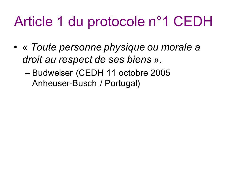 Article 1 du protocole n°1 CEDH « Toute personne physique ou morale a droit au respect de ses biens ».
