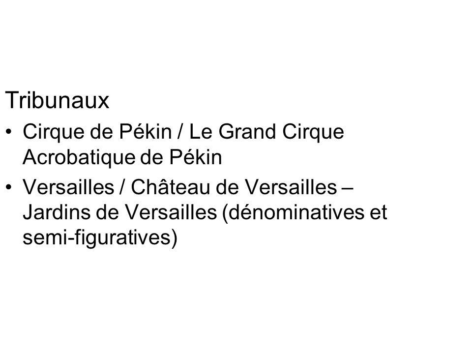 Tribunaux Cirque de Pékin / Le Grand Cirque Acrobatique de Pékin Versailles / Château de Versailles – Jardins de Versailles (dénominatives et semi-figuratives)