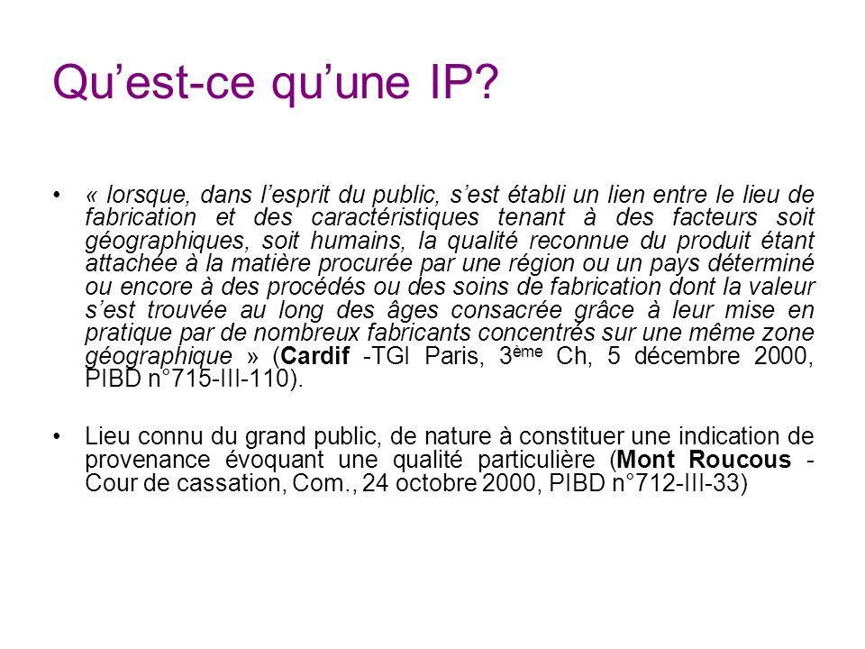 Quelles sont les conséquences de la reconnaissance dune IP .