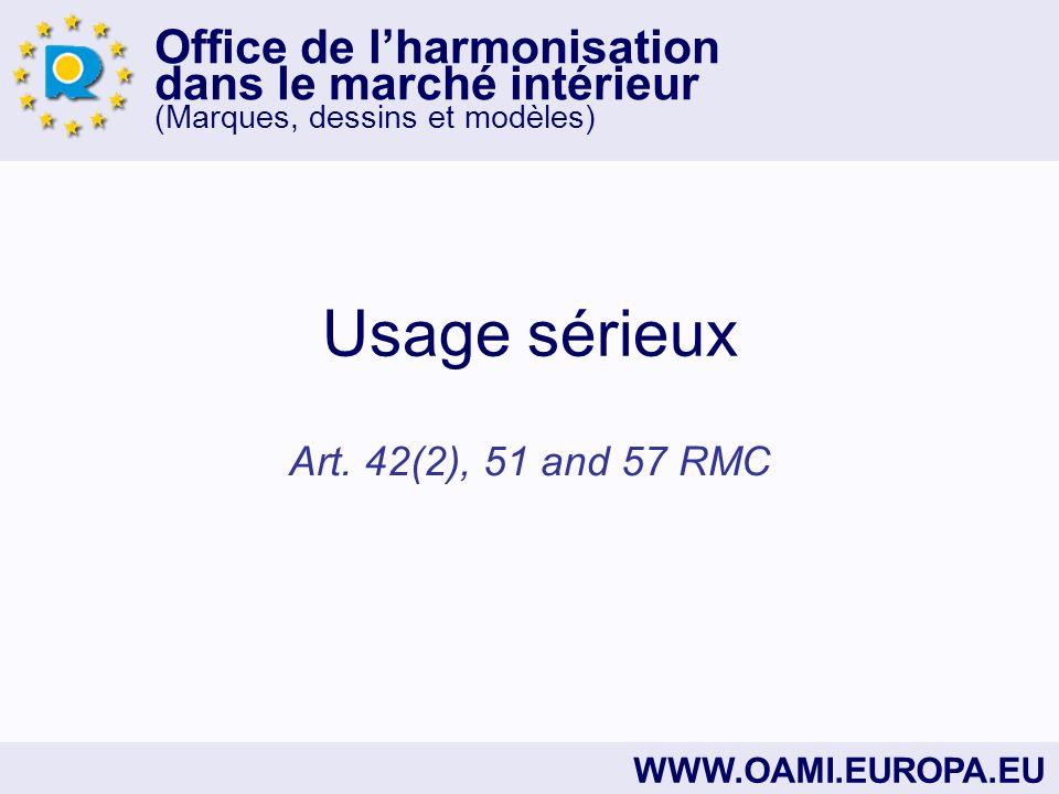 Office de lharmonisation dans le marché intérieur (Marques, dessins et modèles) WWW.OAMI.EUROPA.EU Usage sérieux Art.
