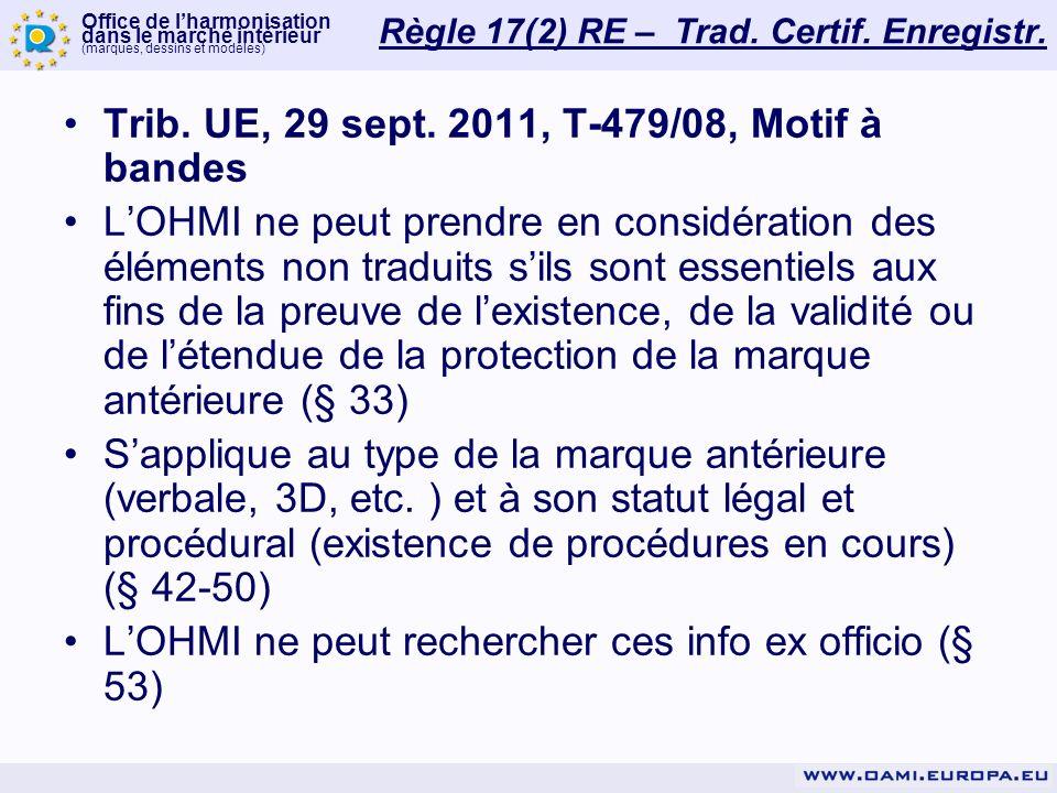 Office de lharmonisation dans le marché intérieur (marques, dessins et modèles) Règle 17(2) RE – Trad.