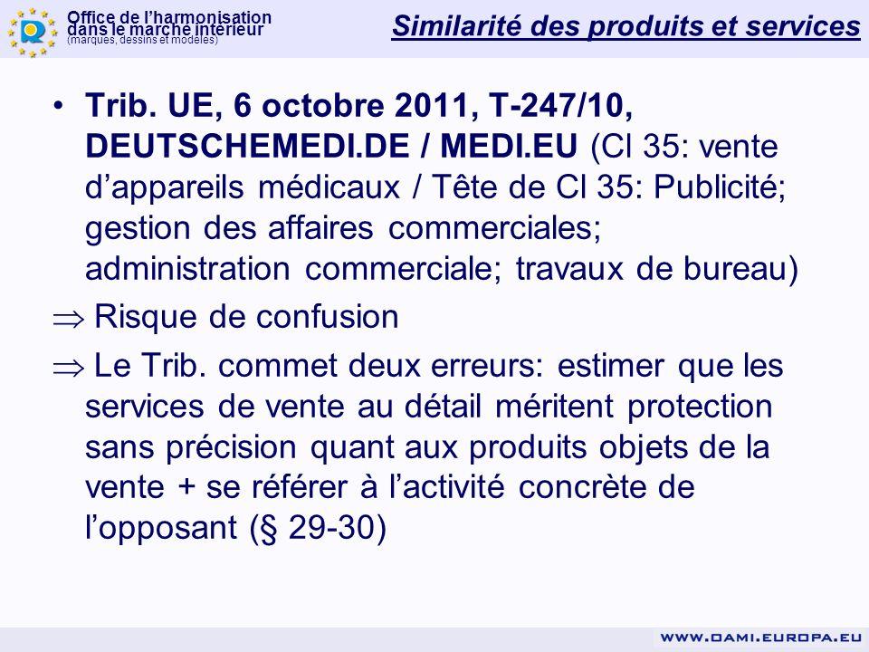 Office de lharmonisation dans le marché intérieur (marques, dessins et modèles) Similarité des produits et services Trib.