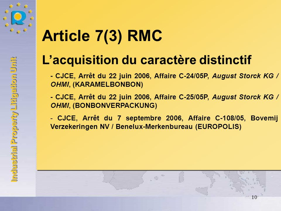 Industrial Property Litigation Unit 10 Article 7(3) RMC Lacquisition du caractère distinctif - CJCE, Arrêt du 22 juin 2006, Affaire C-24/05P, August S