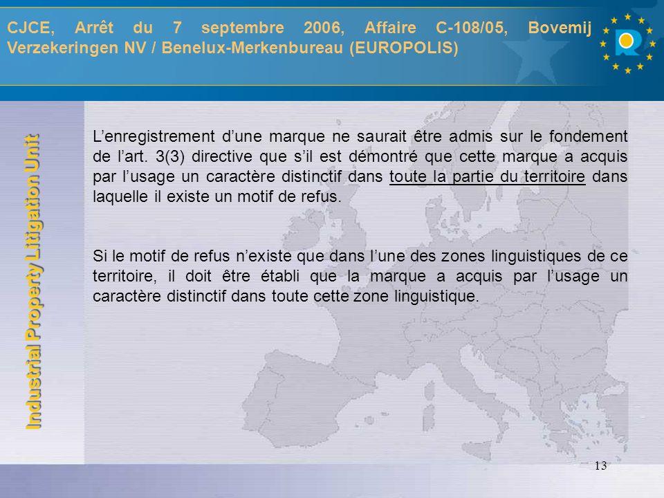 Industrial Property Litigation Unit 14 MOTIFS RELATIFS Aspects procéduraux Article 74(2) RMC - TPICE, Arrêt du 11 juillet 2006, Affaire T-252/04, Caviar Anzali SAS / OHMI, (ASETRA/CAVIAR ASTARA) - TPICE, Arrêt du 10 juillet 2006, Affaire T-323/03, La Baronia de Turis, Cooperativa Valenciana / OHMI, (LA BARONNIE/BARONIA) - Pourvoi CJCE pendant, Affaire C-29/05P, OHMI / Kaul GmbH (ARCOL / CAPOL) Conclusions Av Gral Sharpston du 26 octobre 2006 Validité de la marque antérieure - TPICE, Arrêt du 13 septembre 2006, Affaire T-191/04, MIP Metro Group Intellectual Property GmbH & Co.