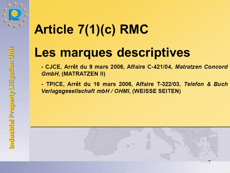 Industrial Property Litigation Unit 7 Article 7(1)(c) RMC Les marques descriptives - CJCE, Arrêt du 9 mars 2006, Affaire C-421/04, Matratzen Concord G