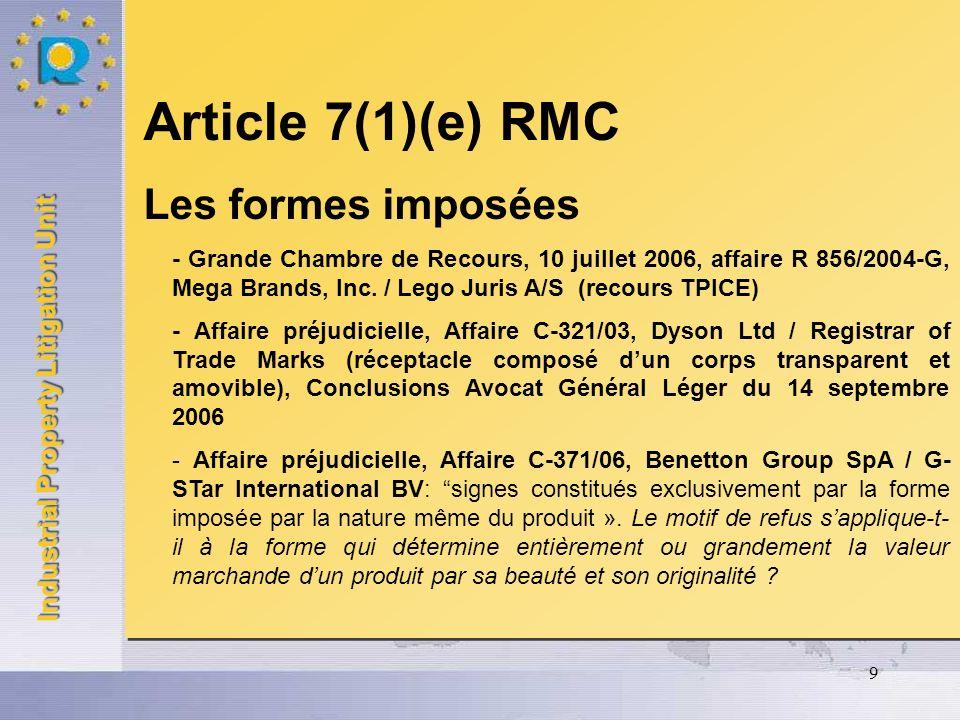 Industrial Property Litigation Unit 10 Article 7(3) RMC Lacquisition du caractère distinctif - CJCE, Arrêt du 22 juin 2006, Affaire C-24/05P, August Storck KG / OHMI, (KARAMELBONBON) - CJCE, Arrêt du 22 juin 2006, Affaire C-25/05P, August Storck KG / OHMI, (BONBONVERPACKUNG) - CJCE, Arrêt du 7 septembre 2006, Affaire C-108/05, Bovemij Verzekeringen NV / Benelux-Merkenbureau (EUROPOLIS) Article 7(3) RMC Lacquisition du caractère distinctif - CJCE, Arrêt du 22 juin 2006, Affaire C-24/05P, August Storck KG / OHMI, (KARAMELBONBON) - CJCE, Arrêt du 22 juin 2006, Affaire C-25/05P, August Storck KG / OHMI, (BONBONVERPACKUNG) - CJCE, Arrêt du 7 septembre 2006, Affaire C-108/05, Bovemij Verzekeringen NV / Benelux-Merkenbureau (EUROPOLIS)