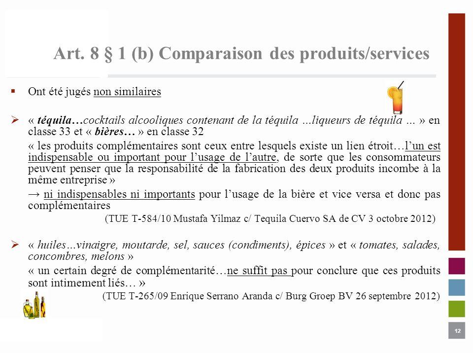 12 Art. 8 § 1 (b) Comparaison des produits/services Ont été jugés non similaires « téquila…cocktails alcooliques contenant de la téquila …liqueurs de
