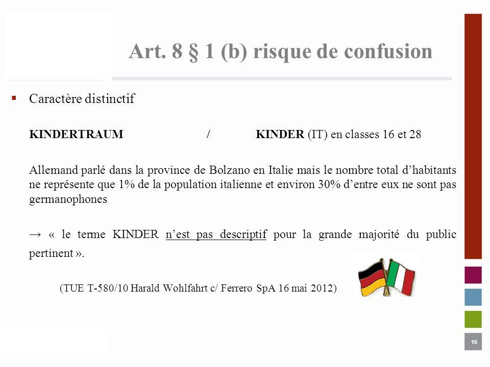 16 Art. 8 § 1 (b) risque de confusion Caractère distinctif KINDERTRAUM/KINDER (IT) en classes 16 et 28 Allemand parlé dans la province de Bolzano en I