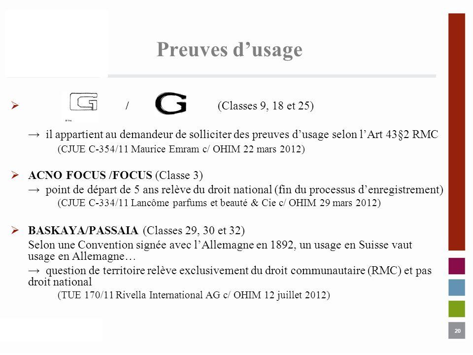 20 Preuves dusage / (Classes 9, 18 et 25) il appartient au demandeur de solliciter des preuves dusage selon lArt 43§2 RMC (CJUE C-354/11 Maurice Emram