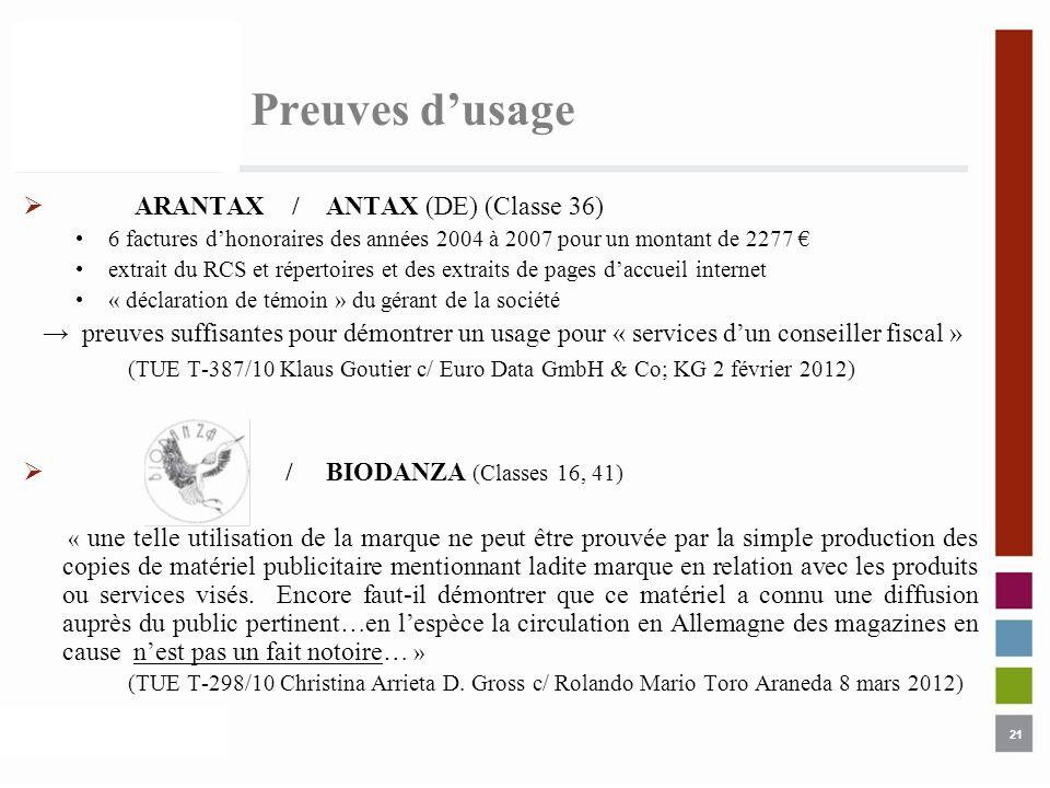 21 Preuves dusage ARANTAX / ANTAX (DE) (Classe 36) 6 factures dhonoraires des années 2004 à 2007 pour un montant de 2277 extrait du RCS et répertoires