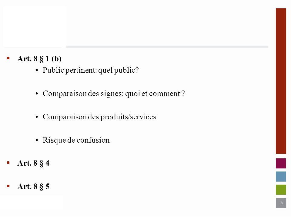 3 Art. 8 § 1 (b) Public pertinent: quel public? Comparaison des signes: quoi et comment ? Comparaison des produits/services Risque de confusion Art. 8