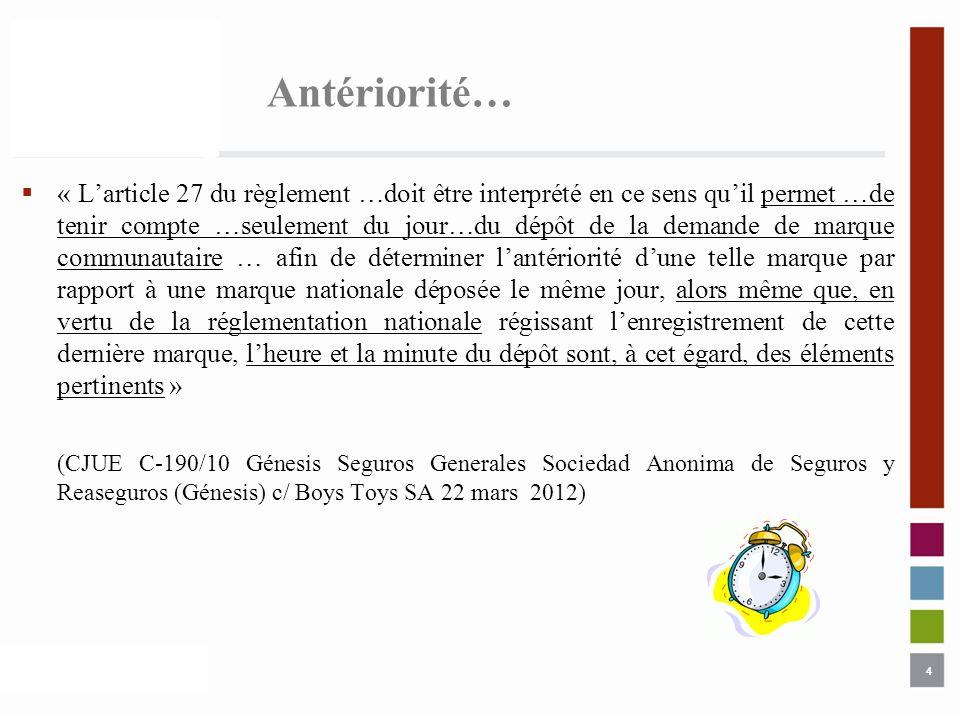 4 Antériorité… « Larticle 27 du règlement …doit être interprété en ce sens quil permet …de tenir compte …seulement du jour…du dépôt de la demande de m