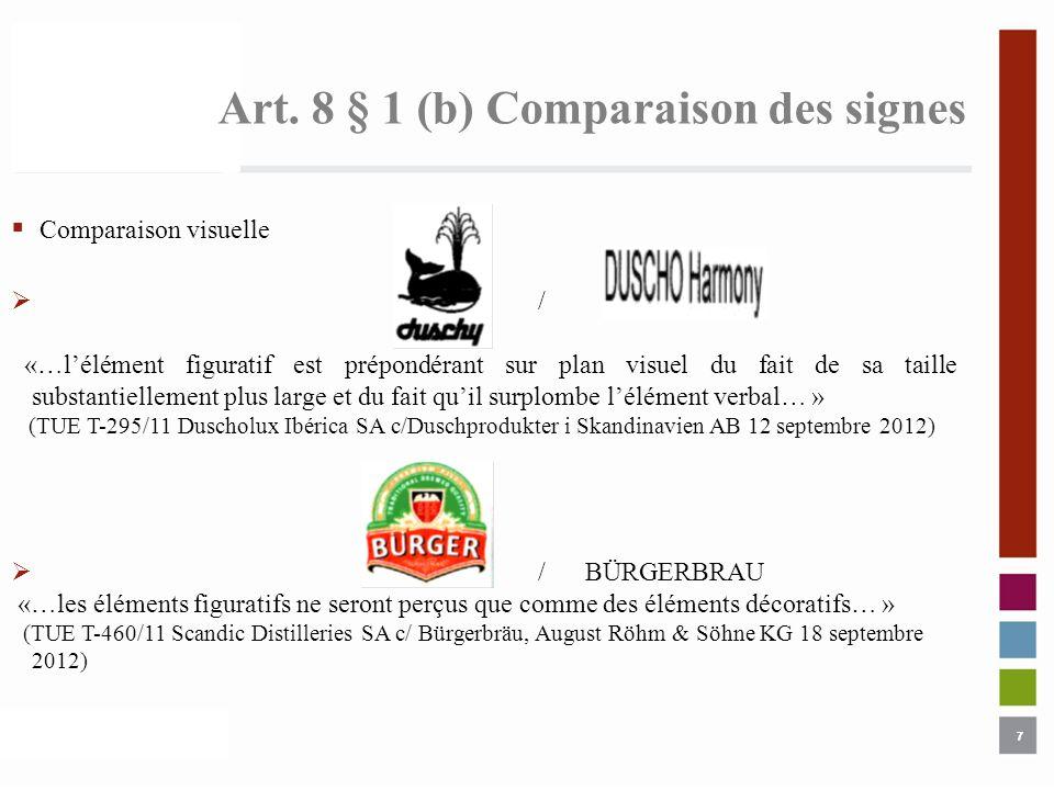 7 Art. 8 § 1 (b) Comparaison des signes 7 Comparaison visuelle / «…lélément figuratif est prépondérant sur plan visuel du fait de sa taille substantie