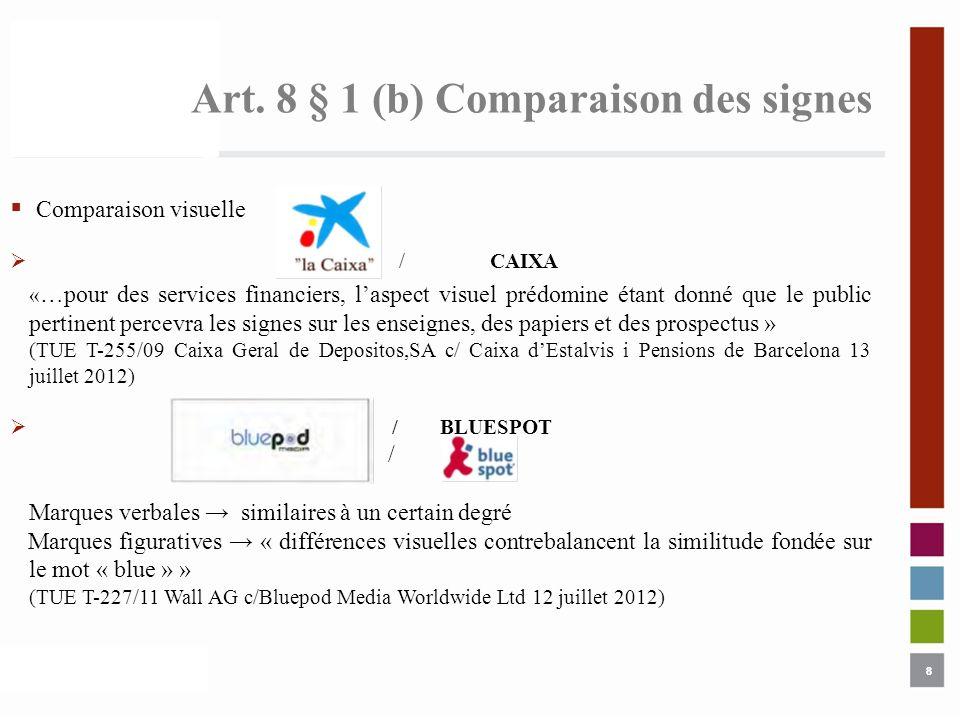 8 Art. 8 § 1 (b) Comparaison des signes 8 Comparaison visuelle /CAIXA « …pour des services financiers, laspect visuel prédomine étant donné que le pub