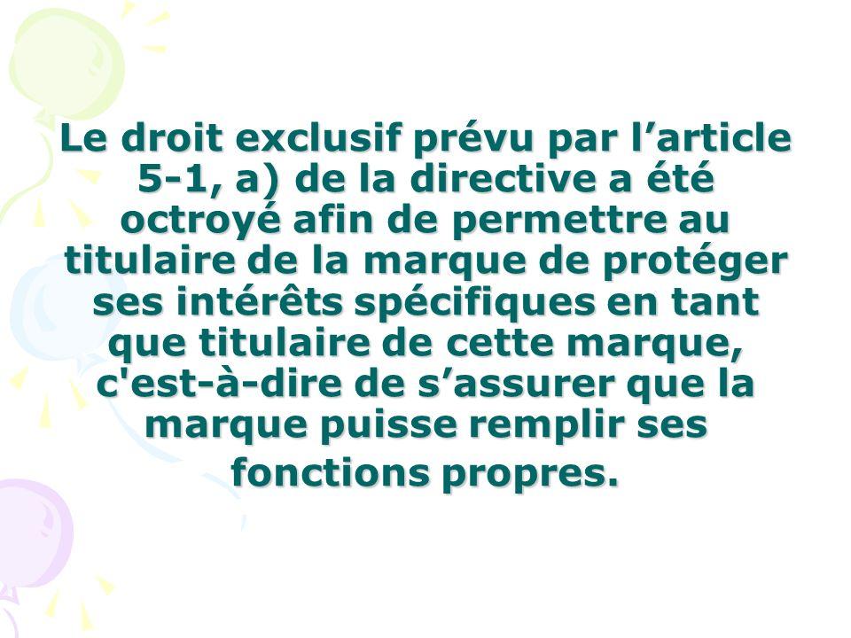 Le droit exclusif prévu par larticle 5-1, a) de la directive a été octroyé afin de permettre au titulaire de la marque de protéger ses intérêts spécif