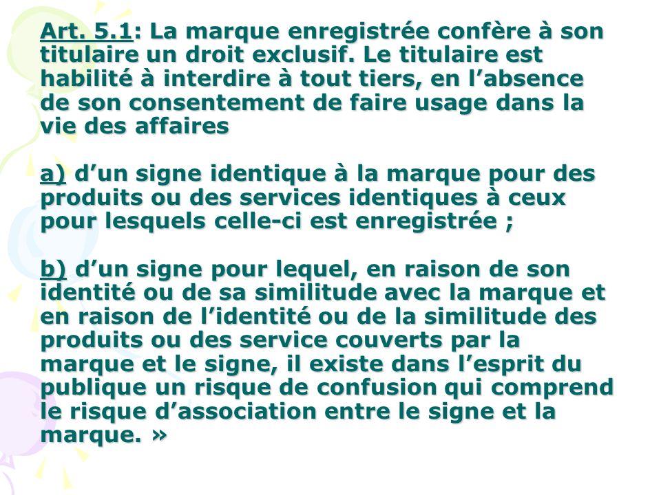Art. 5.1: La marque enregistrée confère à son titulaire un droit exclusif. Le titulaire est habilité à interdire à tout tiers, en labsence de son cons
