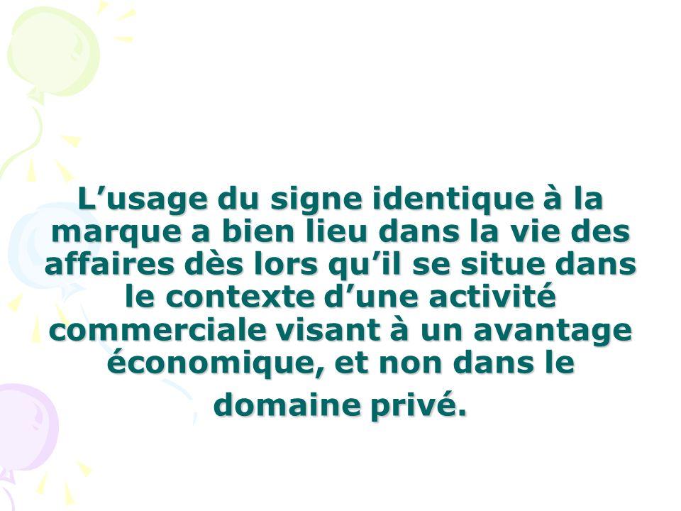 Lusage du signe identique à la marque a bien lieu dans la vie des affaires dès lors quil se situe dans le contexte dune activité commerciale visant à