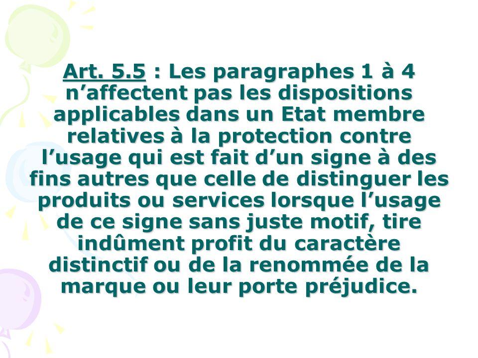 Art. 5.5 : Les paragraphes 1 à 4 naffectent pas les dispositions applicables dans un Etat membre relatives à la protection contre lusage qui est fait