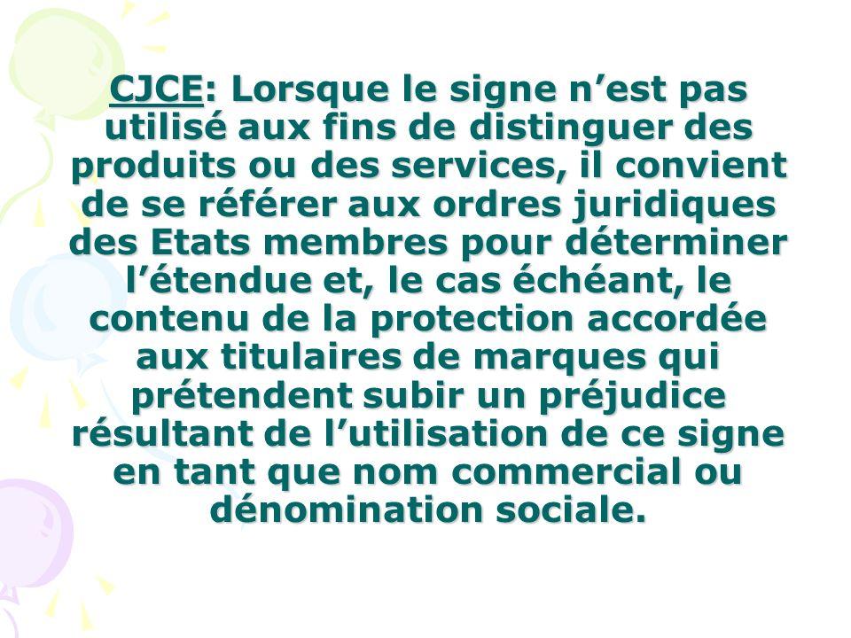 CJCE: Lorsque le signe nest pas utilisé aux fins de distinguer des produits ou des services, il convient de se référer aux ordres juridiques des Etats