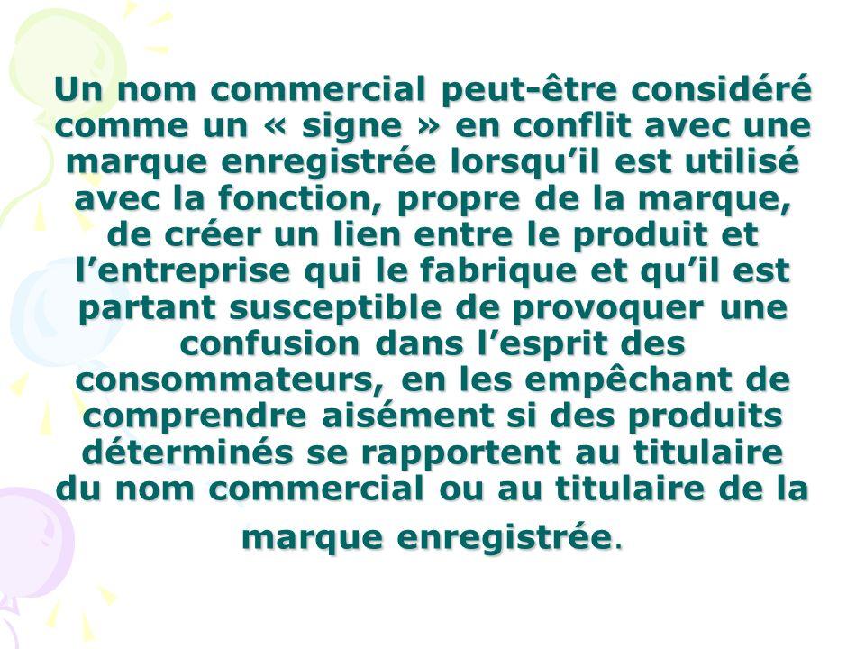 Un nom commercial peut-être considéré comme un « signe » en conflit avec une marque enregistrée lorsquil est utilisé avec la fonction, propre de la ma