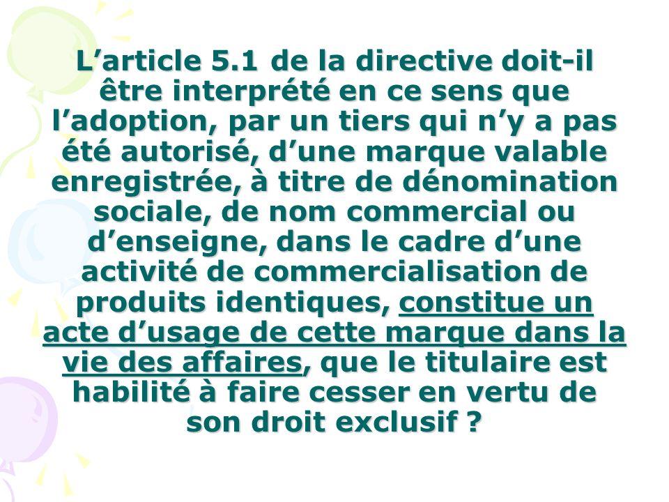 Larticle 5.1 de la directive doit-il être interprété en ce sens que ladoption, par un tiers qui ny a pas été autorisé, dune marque valable enregistrée