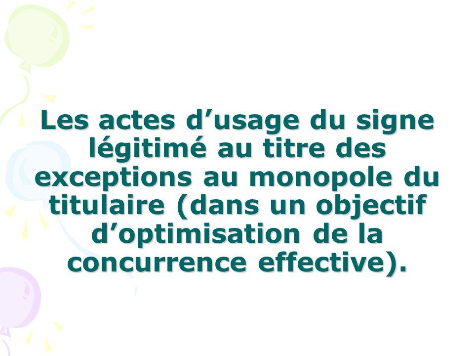 Les actes dusage du signe légitimé au titre des exceptions au monopole du titulaire (dans un objectif doptimisation de la concurrence effective).
