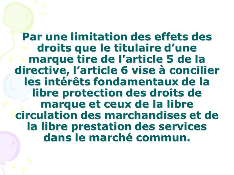 Par une limitation des effets des droits que le titulaire dune marque tire de larticle 5 de la directive, larticle 6 vise à concilier les intérêts fon