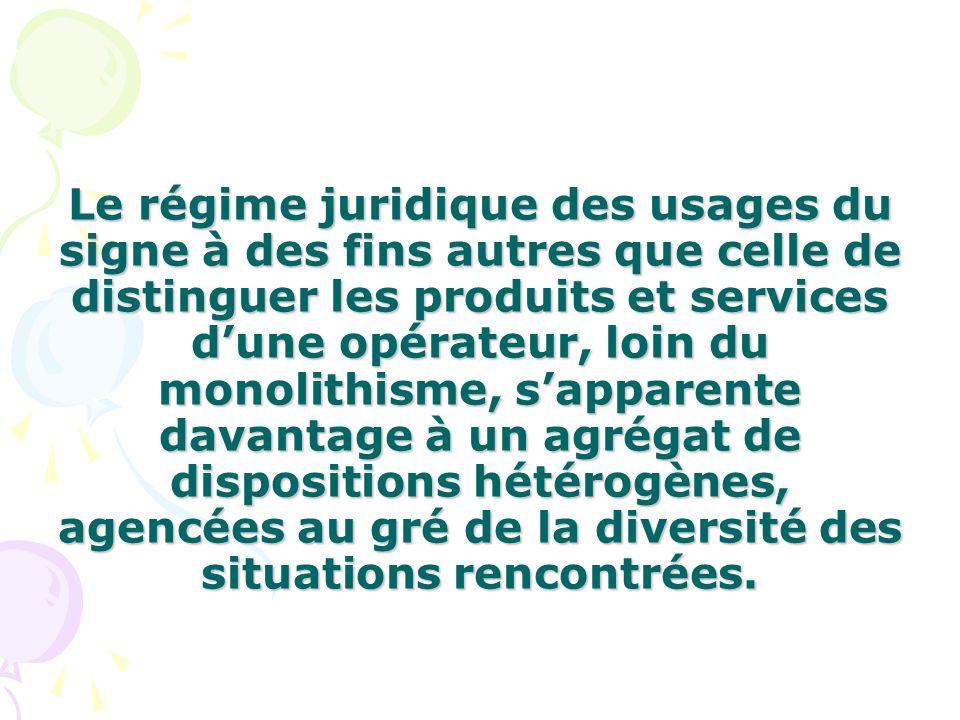 Le régime juridique des usages du signe à des fins autres que celle de distinguer les produits et services dune opérateur, loin du monolithisme, sappa