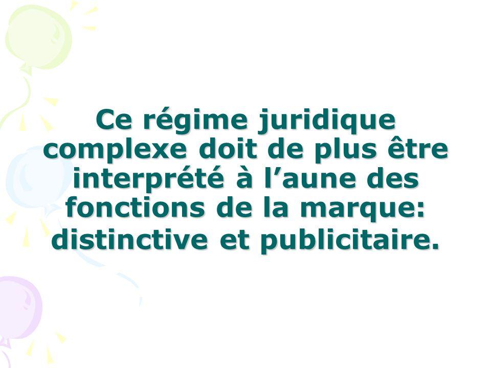 Ce régime juridique complexe doit de plus être interprété à laune des fonctions de la marque: distinctive et publicitaire.