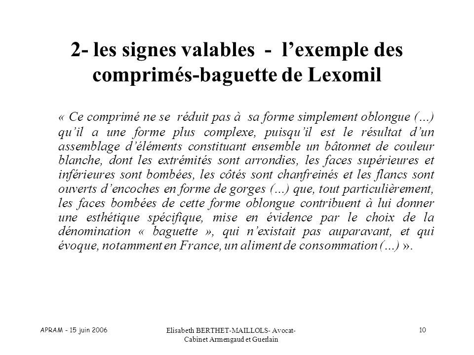 APRAM - 15 juin 2006 Elisabeth BERTHET-MAILLOLS- Avocat- Cabinet Armengaud et Guerlain 10 2- les signes valables - lexemple des comprimés-baguette de