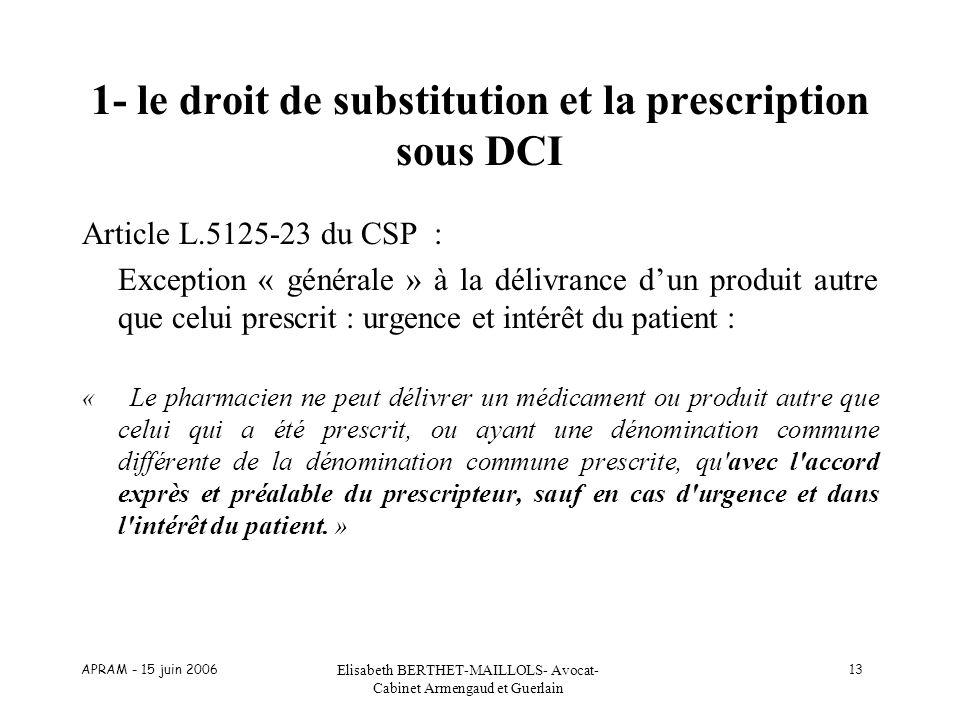 APRAM - 15 juin 2006 Elisabeth BERTHET-MAILLOLS- Avocat- Cabinet Armengaud et Guerlain 13 1- le droit de substitution et la prescription sous DCI Arti