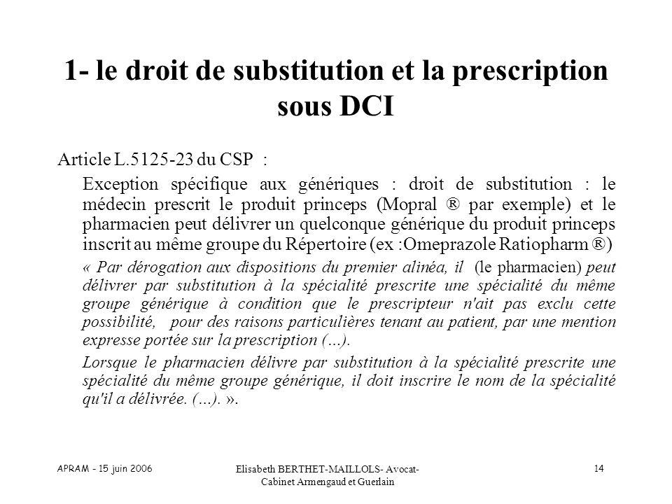 APRAM - 15 juin 2006 Elisabeth BERTHET-MAILLOLS- Avocat- Cabinet Armengaud et Guerlain 14 1- le droit de substitution et la prescription sous DCI Arti