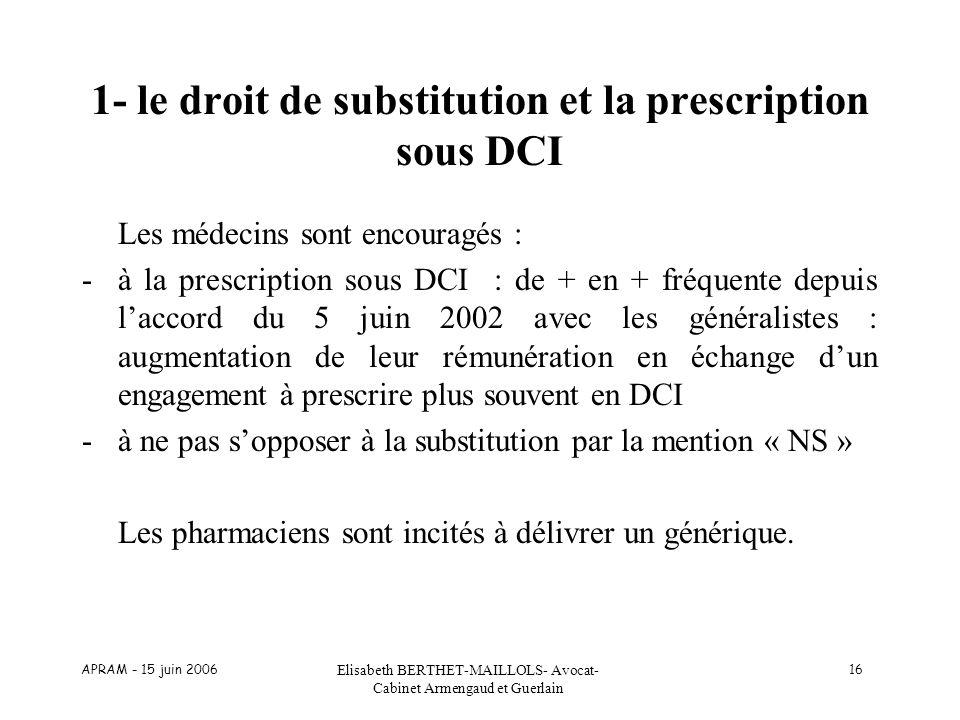 APRAM - 15 juin 2006 Elisabeth BERTHET-MAILLOLS- Avocat- Cabinet Armengaud et Guerlain 16 1- le droit de substitution et la prescription sous DCI Les